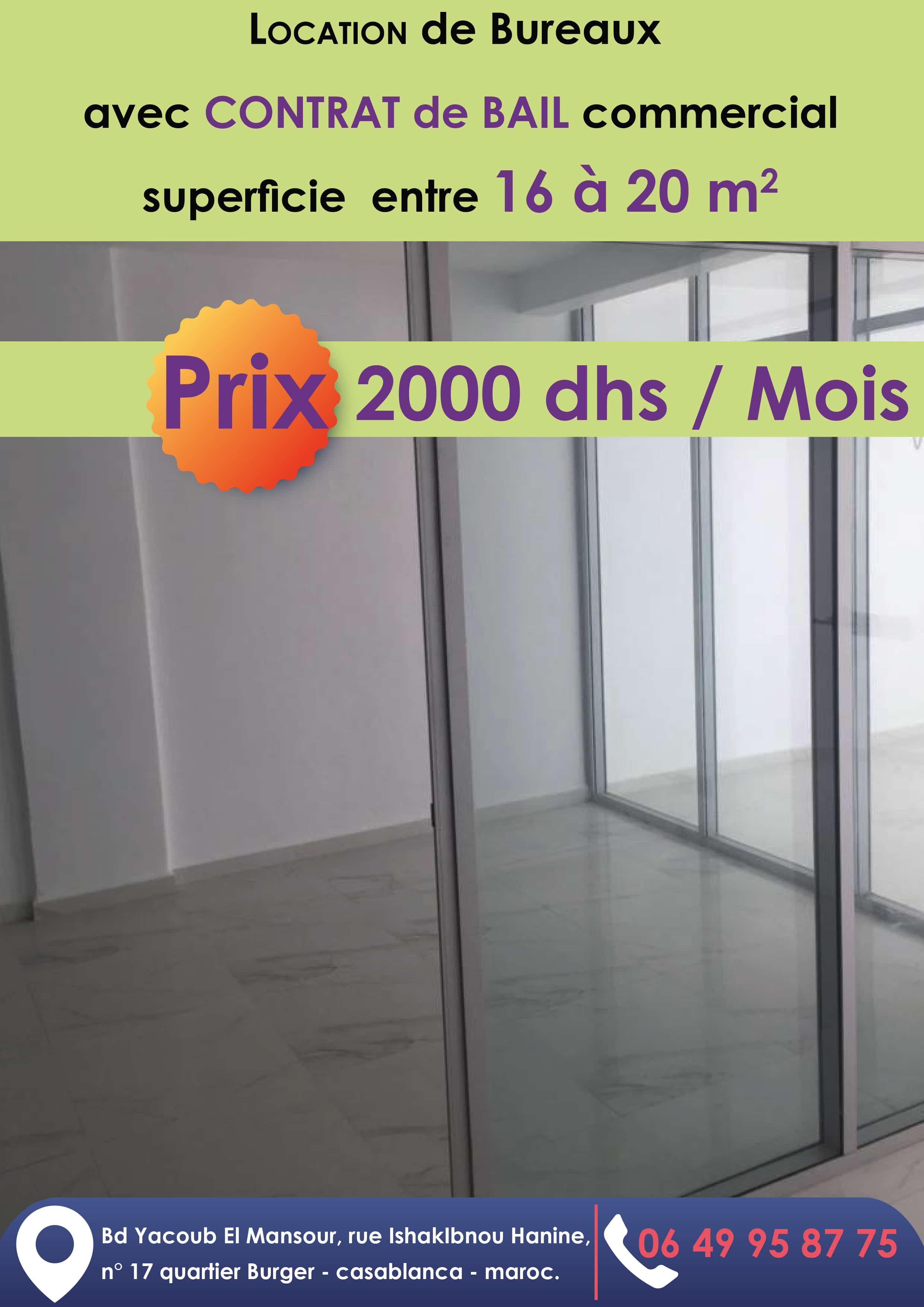location bureau casablanca 2000 dh